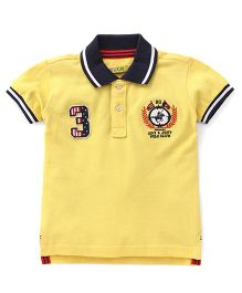 Gini & Jony Half Sleeves Polo T-Shirt 3 Logo Patch - Yellow