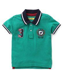 Gini & Jony Half Sleeves Polo T-Shirt 3 Logo Patch - Green