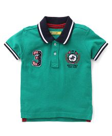 Gini & Jony Half Sleeves Polo T-Shirt 3 Logo Patch - Green