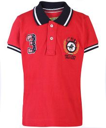 Gini & Jony Half Sleeves Polo T-Shirt Number 3 Embroidered Patch - Red