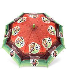 Babyhug Kids Umbrella Football Player Print - Green And Maroon