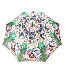 Babyhug Kids Umbrella Zoo Print - Dark Green And Multicolor