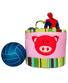 Kadambaby Storage Bag Piggy Applique - Pink And Green