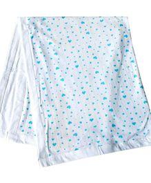 Kadambaby Blanket Double Layer Blanket - Blue Heart Print