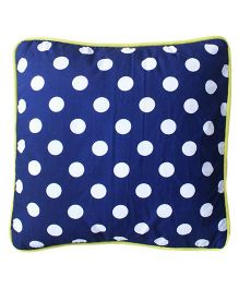 Kadambaby Polka Dots Cotton Kids Cushion Cover - Blue White