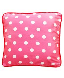Kadambaby Polka Dot Cotton Cushion Cover - Pink And White