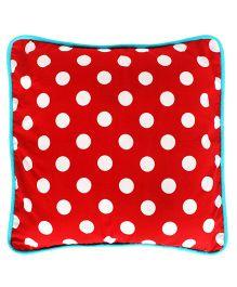 Kadambaby Cotton Polka Dots Kids Cushion Cover - Red White