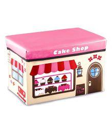 Ramson Storage Cum Sitting Box Cake Shop Print - Pink