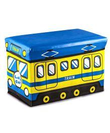 Ramson Storage Cum Sitting Box Train Print - Blue