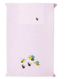 Baby Rap 1 Cot Sheet And Pillow Cover Set Playful Bees Embroidery - Pink