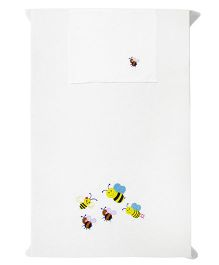 Baby Rap 1 Cot Sheet And Pillow Cover Set Playful Bees Embroidery - White