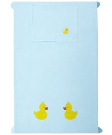 Baby Rap 1 Cot Sheet And Pillow Cover Set Two Ducks Embroidery - Blue