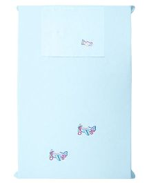 Baby Rap 1 Cot Sheet And Pillow Cover Set Aeroplane Friends Embroidery - Blue