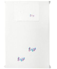 Baby Rap 1 Cot Sheet And Pillow Cover Set Aeroplane Friends Embroidery - White