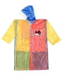 Babyhug Raincoat With Back Bag Cover Bike Print - Orange Blue Yellow