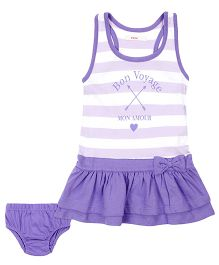 Fox Baby Racerback Frock With Bloomer Stripes - Purple And White