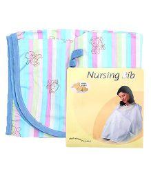 Owen Nursing Bib With Stripes Print - Pink Blue
