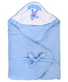 Tinycare Deluxe Hooded Towel Parachute Print - Light Blue
