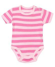 Fox Baby Short Sleeves Onesies Horizontal Stripes - Pink