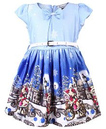 Peppermint Cap Sleeves Frock With Belt Ice City Print - Blue