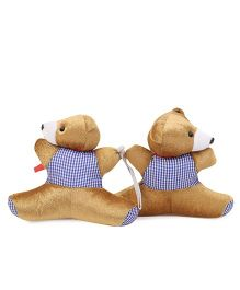 Curtain Holder Bear Soft Toy Checks Print - Golden