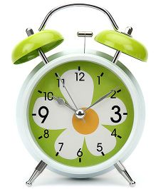 Alarm Clock Floral Print - White And Green