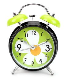 Alarm Clock Floral Print - Black And Green