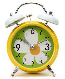 Alarm Clock Floral Print - White And Yellow