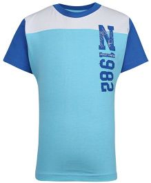 Dreamszone Half Sleeves T-Shirt N1982 Print - White And Aqua