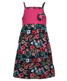 Dreamszone Singlet Frock Floral Applique - Pink