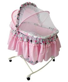Pollys Pet Baby Bassinet With Mosquito Net - Pink