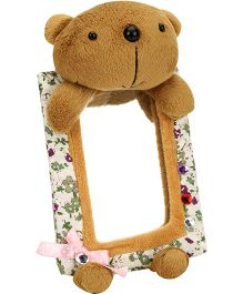 Teddy Bear Pattern Flower Print Frame Mirror -  Brown