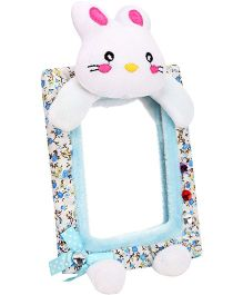 Rabbit Pattern Flower Print Frame Mirror - White