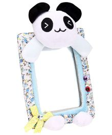 Teddy Bear Pattern Flower Print Frame Mirror -  Multi Color