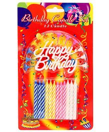 Birthday Candles Set of 12 - White Blue And Pink