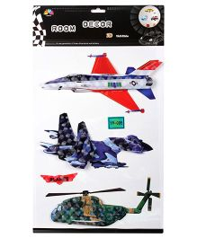 3D Wall Sticker Aeroplane And Helicopter - Multicolour