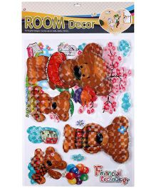 5D Wall Sticker Bear Print - Brown And Red