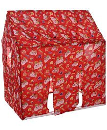 Lovely Play Tent House Slicy Teddy Print - Red