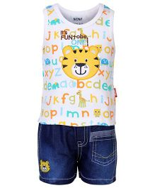 Wow Sleeveless T-Shirt And Denim Shorts Tiger Patch - Yellow White