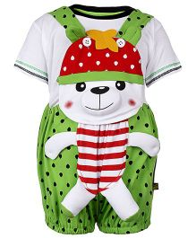 Wow Sleeveless Dungaree With T-Shirt Bear Applique - Green