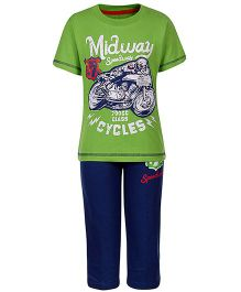 Fido Half Sleeves T-Shirt And Pant Speedway Print - Green And Blue