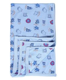 Tinycare Baby Towel Animal Face Print - Blue