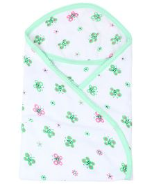 Tinycare Hooded Bath Towel Butterfly Print - Green And White