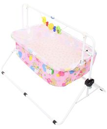 New Natraj Comfy Cradle With Play Toys Teddy Family Print 030 - Pink