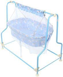 Infanto Cocoon Baby Cradle With Mosquito Net Teddy Print 037 - Blue