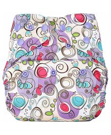 Bumberry Cloth Diaper Cover With Insert - Violet Print