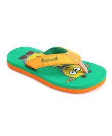 Cute Walk by Babyhug Flip Flops Giraffe Design - Green Orange