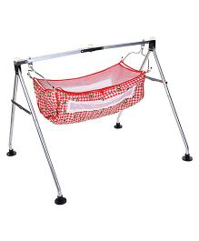 New Natraj Porta Baby Cradle Teddy Print - Red