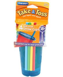 The First Years Take And Toss Straw Cups Pack Of 4 296 ml each (Color May Vary)