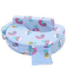 Babyhug Feeding Pillow Teddy Print - Sky Blue